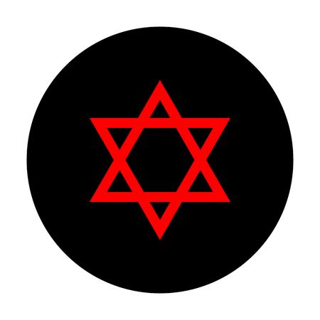 Star. Shield Magen David. Symbol of Israel. Red vector icon on black flat circle.