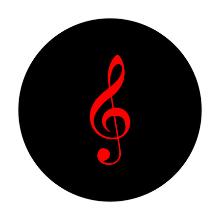 conduct: Music violin clef sign. G-clef. Treble clef. Red vector icon on black flat circle.