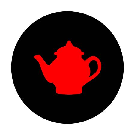 chinese tea pot: Tea maker sign. Red vector icon on black flat circle.