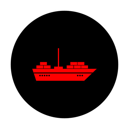 inflate boat: Ship sign. Red vector icon on black flat circle.