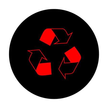 recycle logo: Recycle logo concept. Red vector icon on black flat circle.
