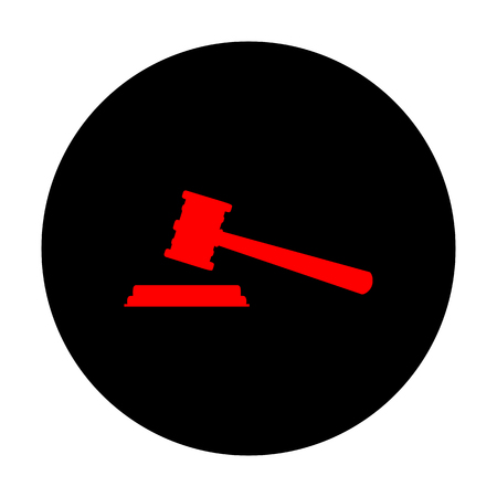 Justice hammer sign. Red vector icon on black flat circle.