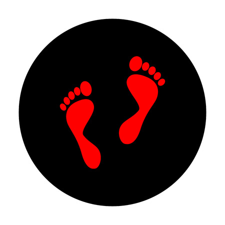 foot prints: Foot prints sign. Red vector icon on black flat circle.