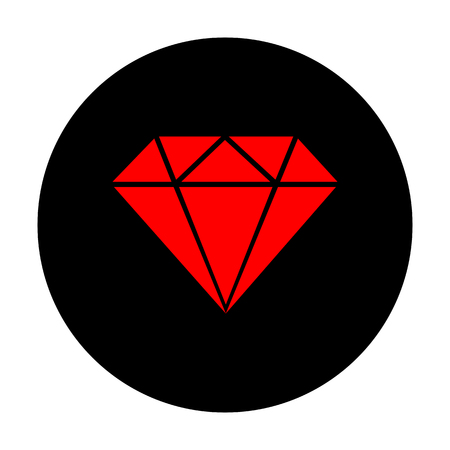 Diamond sign. Red vector icon on black flat circle.