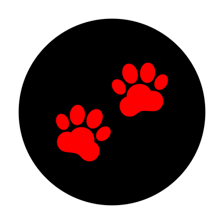 animal tracks: Animal Tracks sign. Red vector icon on black flat circle. Vectores