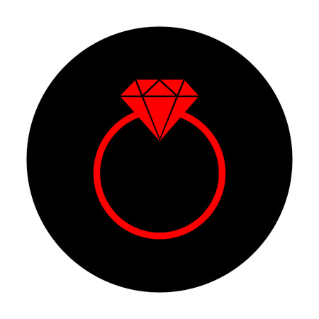 spoil: Diamond sign. Red vector icon on black flat circle.