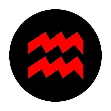 ecliptic: Aquarius sign. Red vector icon on black flat circle.