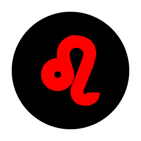 ecliptic: Leo sign. Red vector icon on black flat circle.