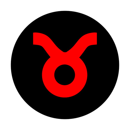 taurus sign: Taurus sign. Red vector icon on black flat circle.