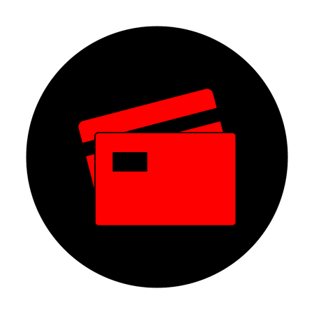 transact: Credit Card sign. Red vector icon on black flat circle.