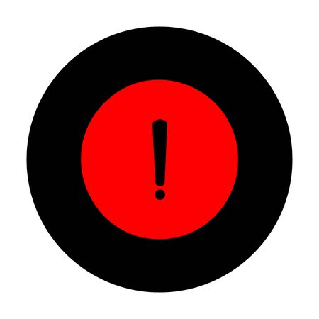 pictogram attention: Exclamation mark sign. Red vector icon on black flat circle. Illustration