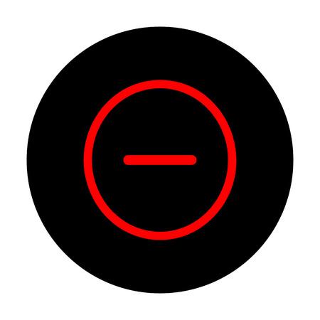 minus sign: Negative symbol. Minus sign. Red vector icon on black flat circle. Illustration