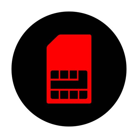 sim card: Sim card sign. Red vector icon on black flat circle. Illustration
