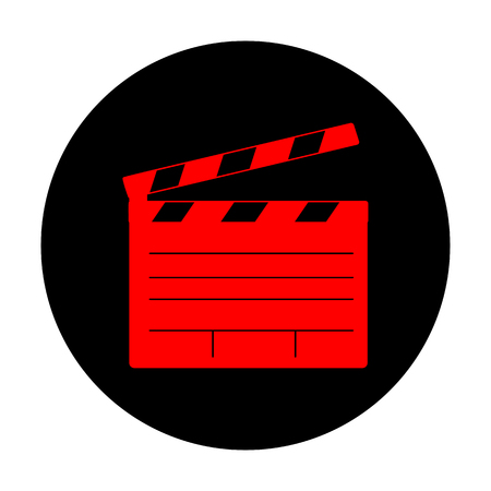 flick: Film clap board cinema sign. Red vector icon on black flat circle.