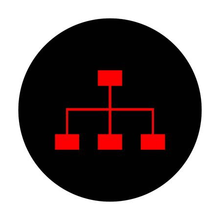site map: Site map sign. Red vector icon on black flat circle.
