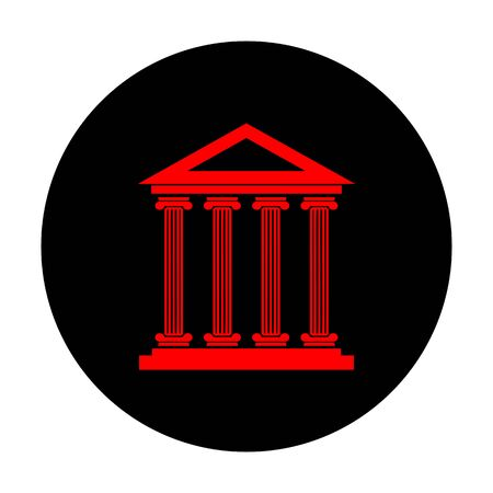 historical building: Historical building. Red vector icon on black flat circle. Illustration