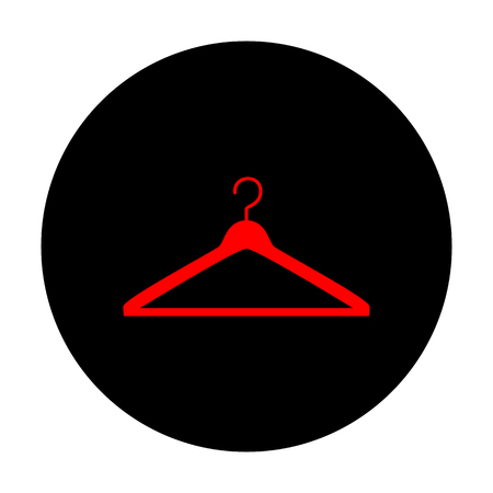 Hanger sign. Red vector icon on black flat circle. Ilustracja