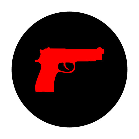 dangerous weapons: Gun sign. Red vector icon on black flat circle.