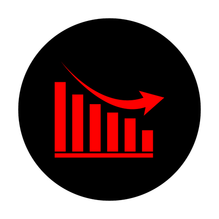declining: Declining graph sign. Red vector icon on black flat circle.