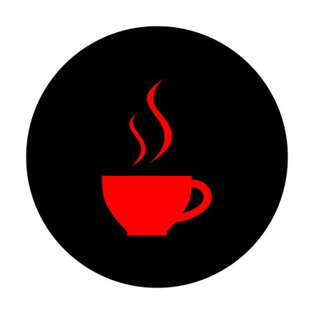 black coffee: Cup of coffee sign. Red vector icon on black flat circle.