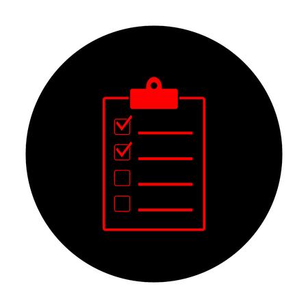 checklist: Checklist sign. Red vector icon on black flat circle.