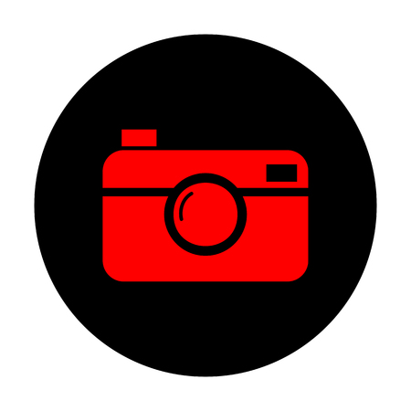 whim: Digital photo camera icon. Red vector icon on black flat circle.