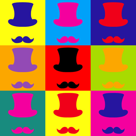 masculinity: Hipster style accessories design. Pop-art style colorful icons set.