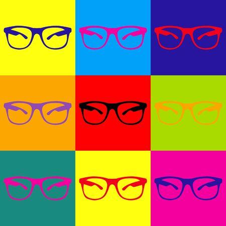 eyewear: Sunglasses sign. Pop-art style colorful icons set. Illustration