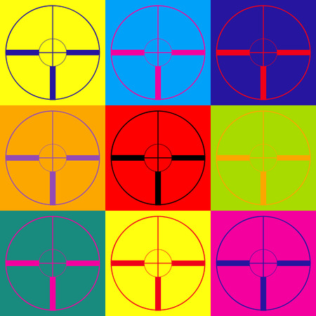 telescopic: Sight sign. Pop-art style colorful icons set.