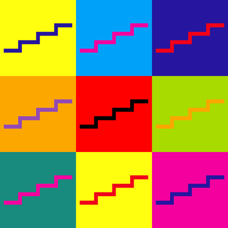 stair: Stair up sign. Pop-art style colorful icons set.
