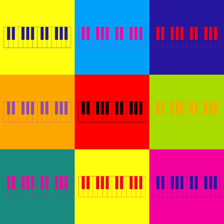acoustically: Piano Keyboard sign. Pop-art style colorful icons set.
