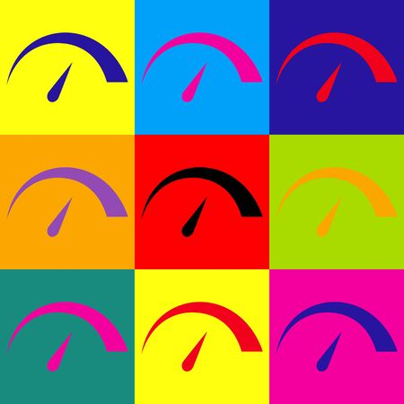 tariff: Speedometer sign. Pop-art style colorful icons set.