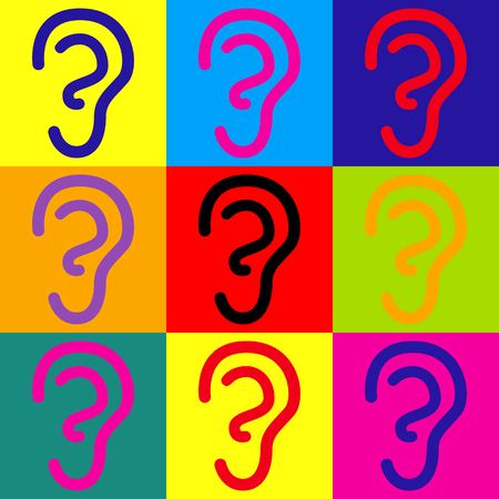 audible: Human ear sign. Pop-art style colorful icons set.