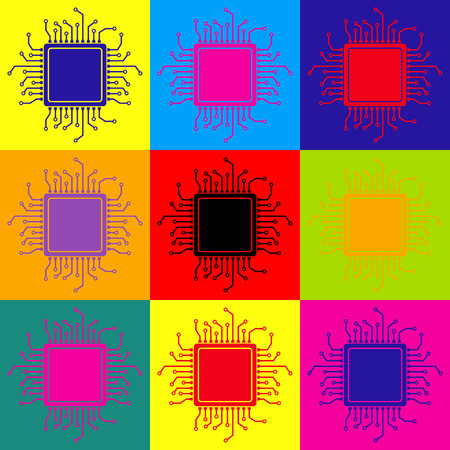 chipset: CPU Microprocessor. Pop-art style colorful icons set.