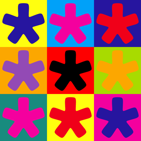 reference point: Asterisk star sign. Pop-art style colorful icons set.