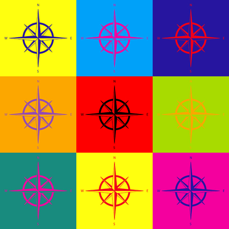 wind rose: Wind rose sign. Pop-art style colorful icons set.