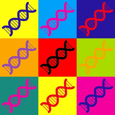 The DNA sign. Pop-art style colorful icons set.  イラスト・ベクター素材