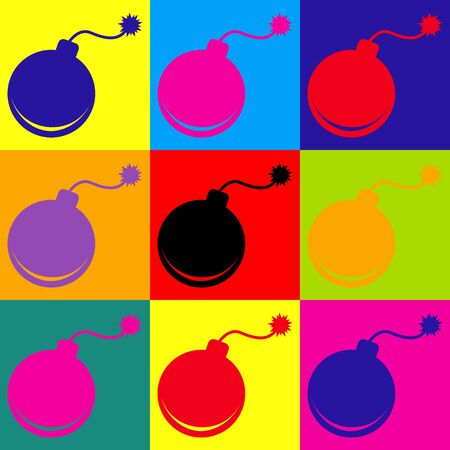bomb sign: Bomb sign. Pop-art style colorful icons set. Illustration