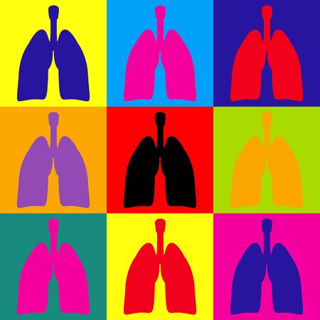 pulmones: Human organs. Lungs sign. Pop-art style colorful icons set.