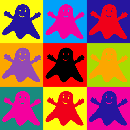 phantom: Ghost isolated sign. Pop-art style colorful icons set. Illustration