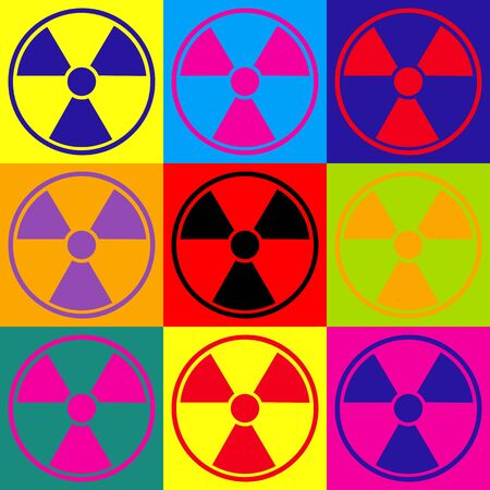 peril: Radiation Round sign. Pop-art style colorful icons set.