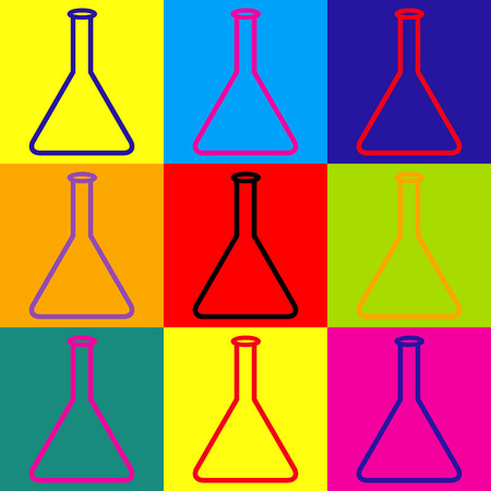 conical: Conical Flask sign. Pop-art style colorful icons set. Illustration