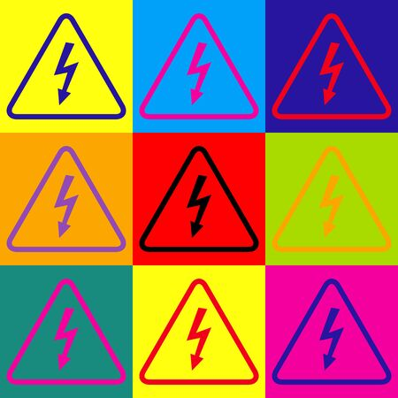 volte: High voltage danger sign. Pop-art style colorful icons set.