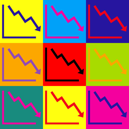 downwards: Arrow pointing downwards showing crisis. Pop-art style colorful icons set. Illustration