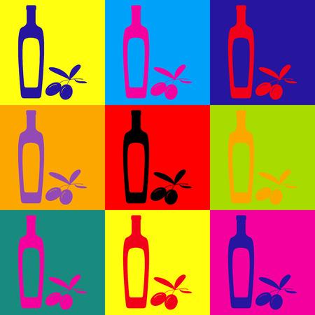 salad dressing: Black olives branch with olive oil bottle sign. Pop-art style colorful icons set.