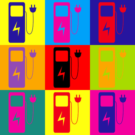 zero emission: Electric car charging station sign. Pop-art style colorful icons set. Illustration