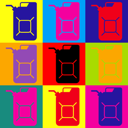 jerry: Jerrycan oil sign. Jerry can oil sign. Pop-art style colorful icons set.
