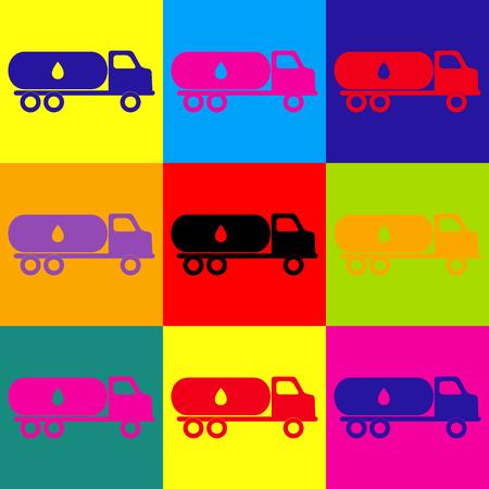 toxic substances: Car transports Oil sign. Pop-art style colorful icons set. Illustration