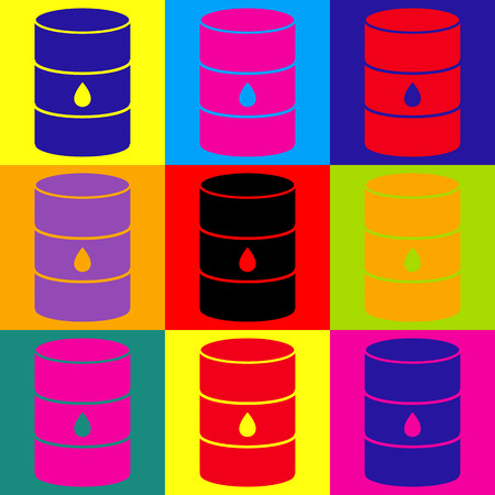 grease: Oil barrel sign. Pop-art style colorful icons set.