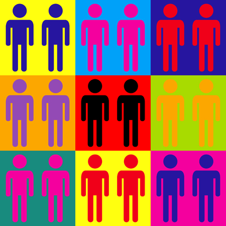 gay family: Gay family sign. Pop-art style colorful icons set.